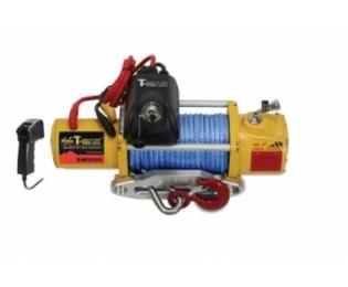 Лебедка автомобильная электрическая T-MAX PEW-9500 Performance 12В С радиоуправлением и синтетическим тросом (короткий барабан)