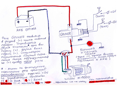Схема подключения реле грюнера к лебедке