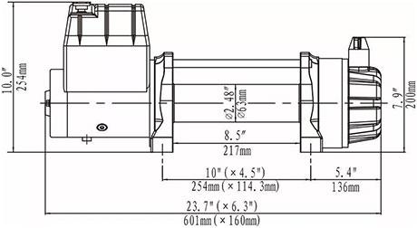 Габаритные размеры лебедки Runva ewb12500s24v