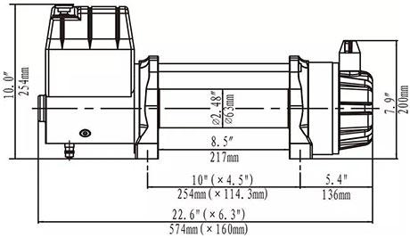 Габаритные размеры лебедки Runva ewb9500s