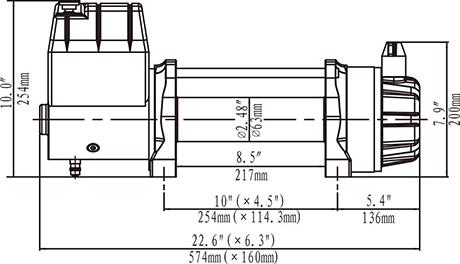 Габариты лебедки Runva EWB 9500 U